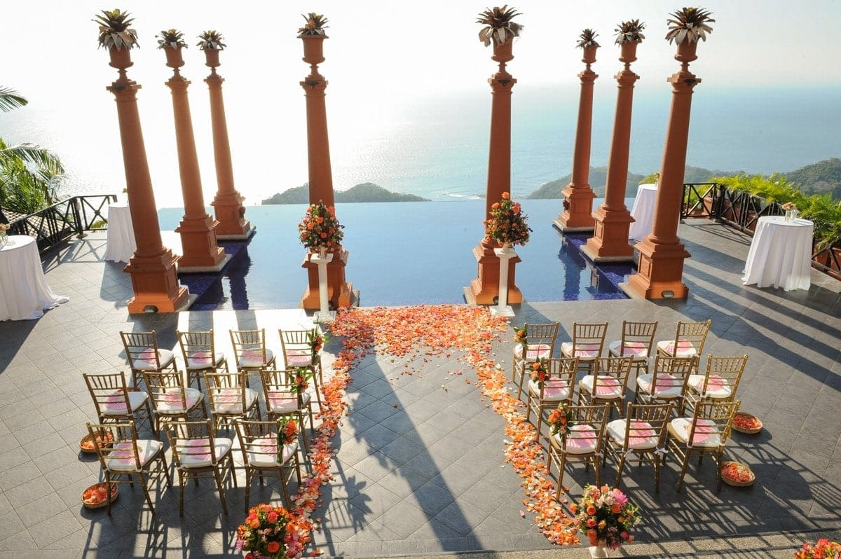 Zephyr Palace's site for wedding ceremonies is prepared for a wedding.