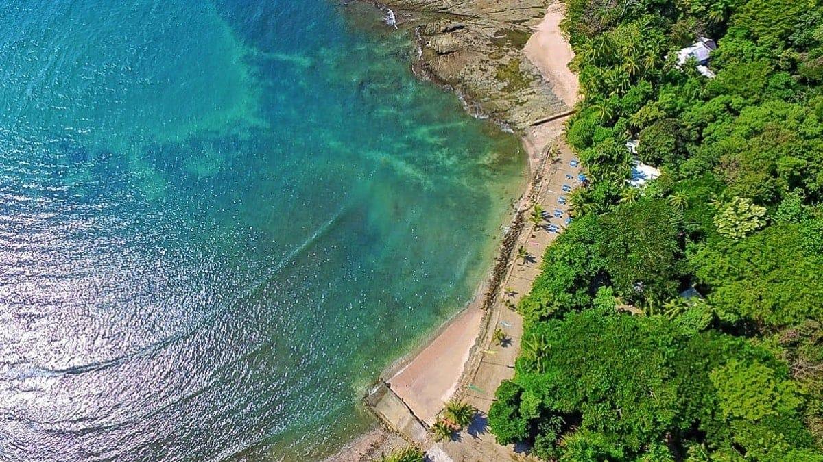 Aerial photo of site for beach weddings at Villa Caletas.