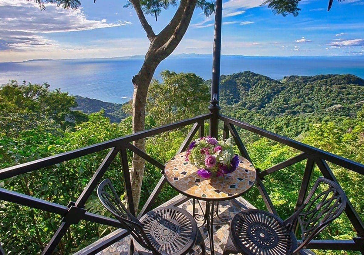 Amazing ocean and mountain views from a balcony.