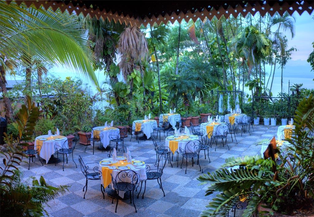Outside area at Mirador Restaurant for wedding receptions at Villa Caletas.