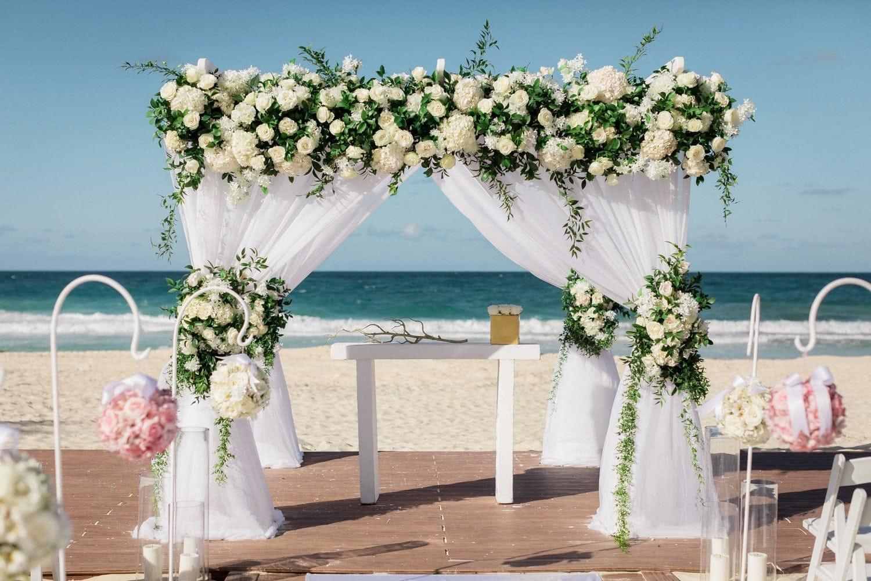 Altar at Hard Rock Resort's beach wedding ceremony venue in Punta Cana.