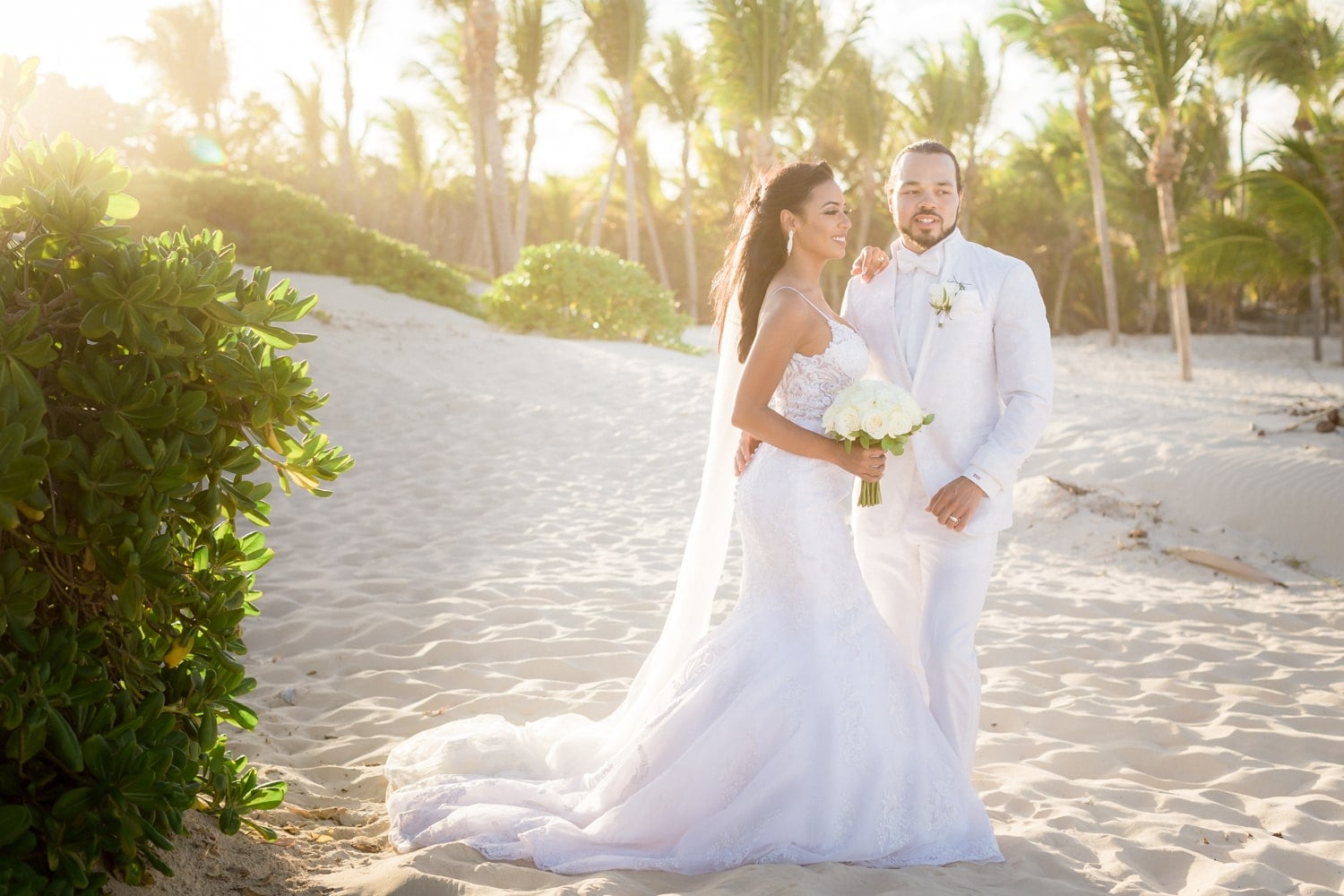 Gorgeous beach sunset photo of just married couple in Punta Cana.
