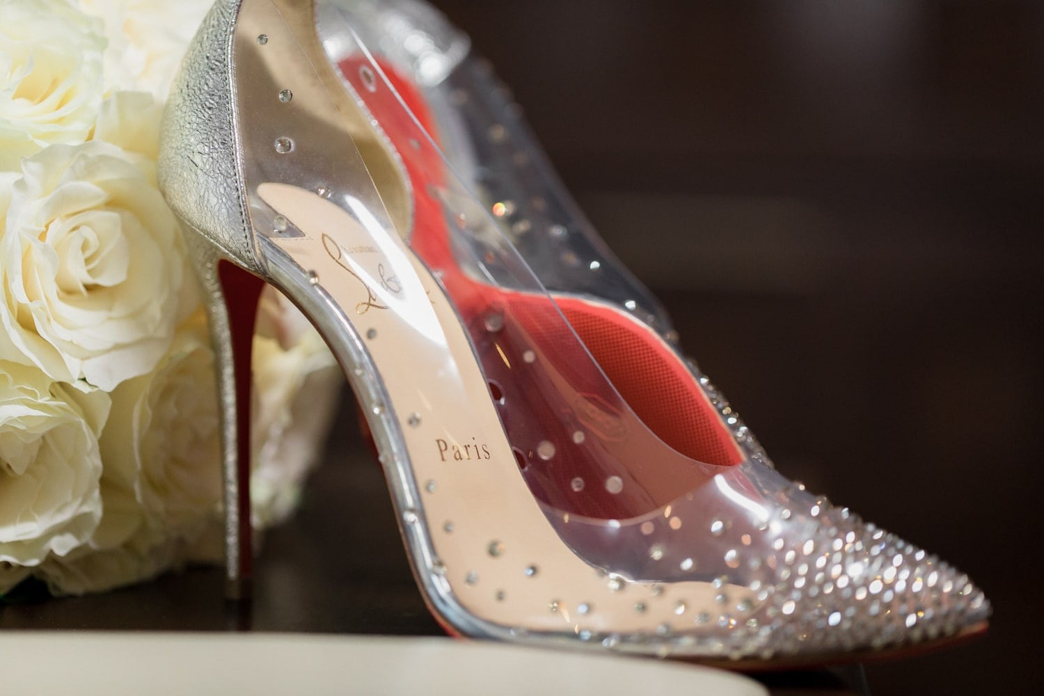 Bride's stylish shoes for her big wedding at Hard Rock Resort, Dominican Republic.