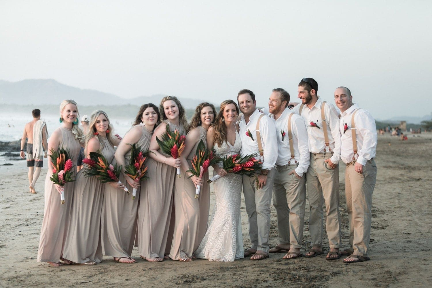 Wedding photo of bridal part on Tamarindo Beach, Costa Rica.