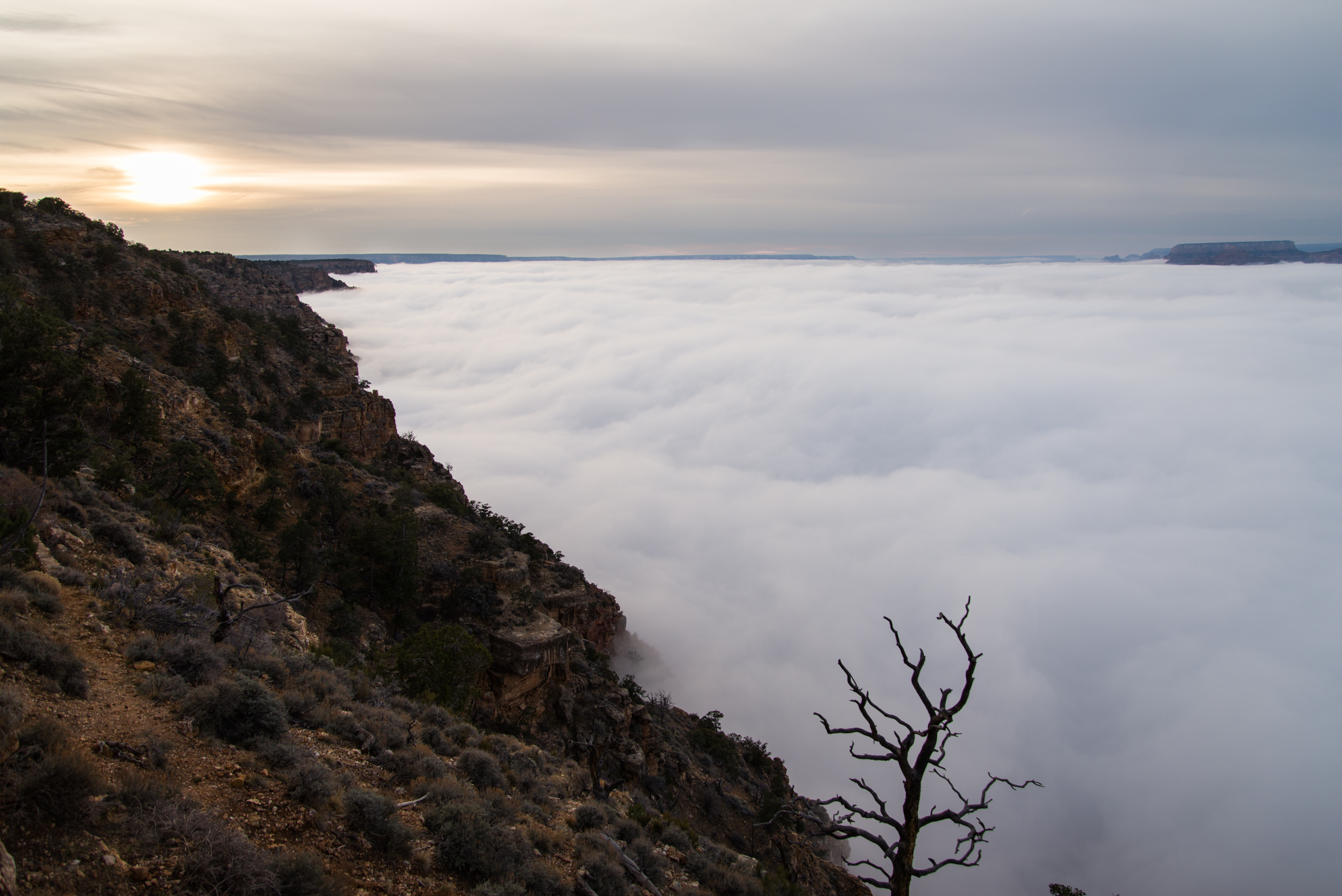 Sunset Over Fog-Filled Grand Canyon