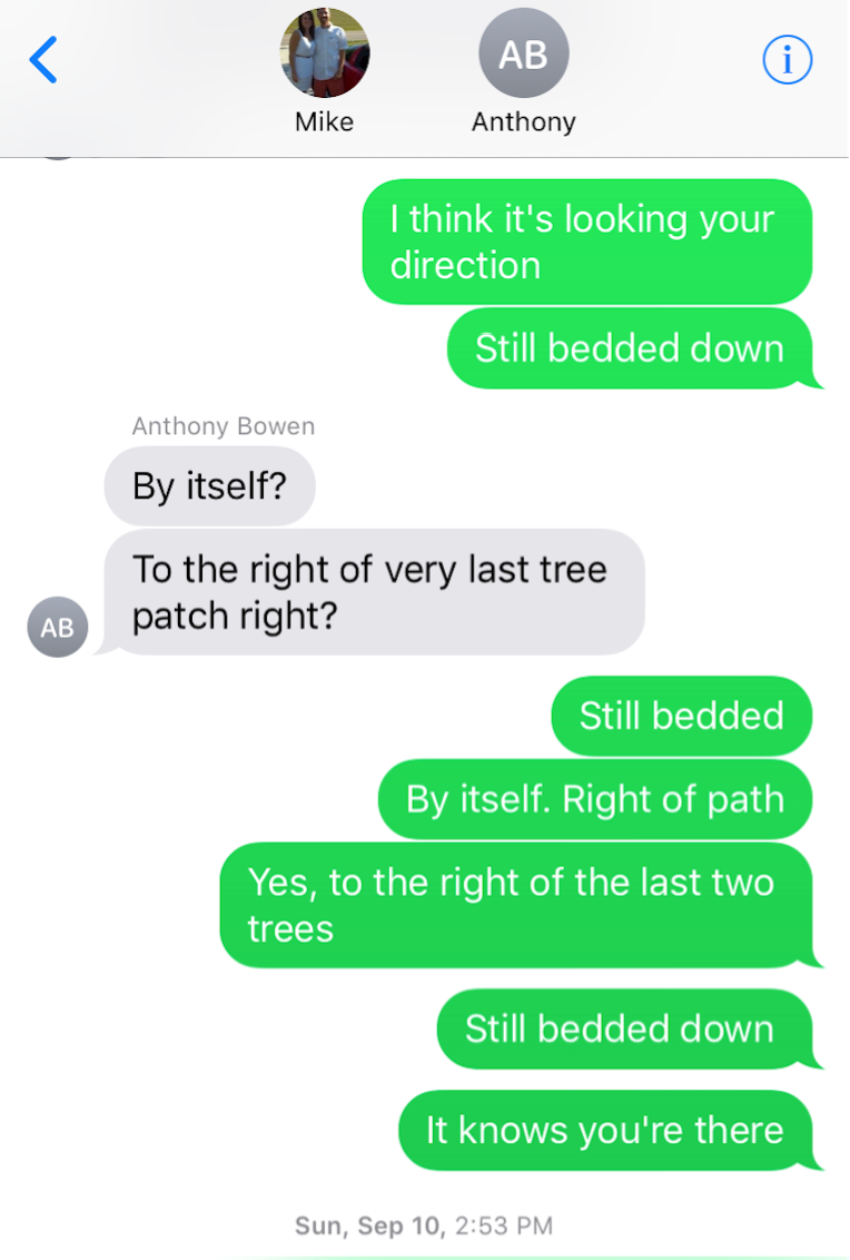 Sample of the texts between Anthony and I as he was stalking the antelope.