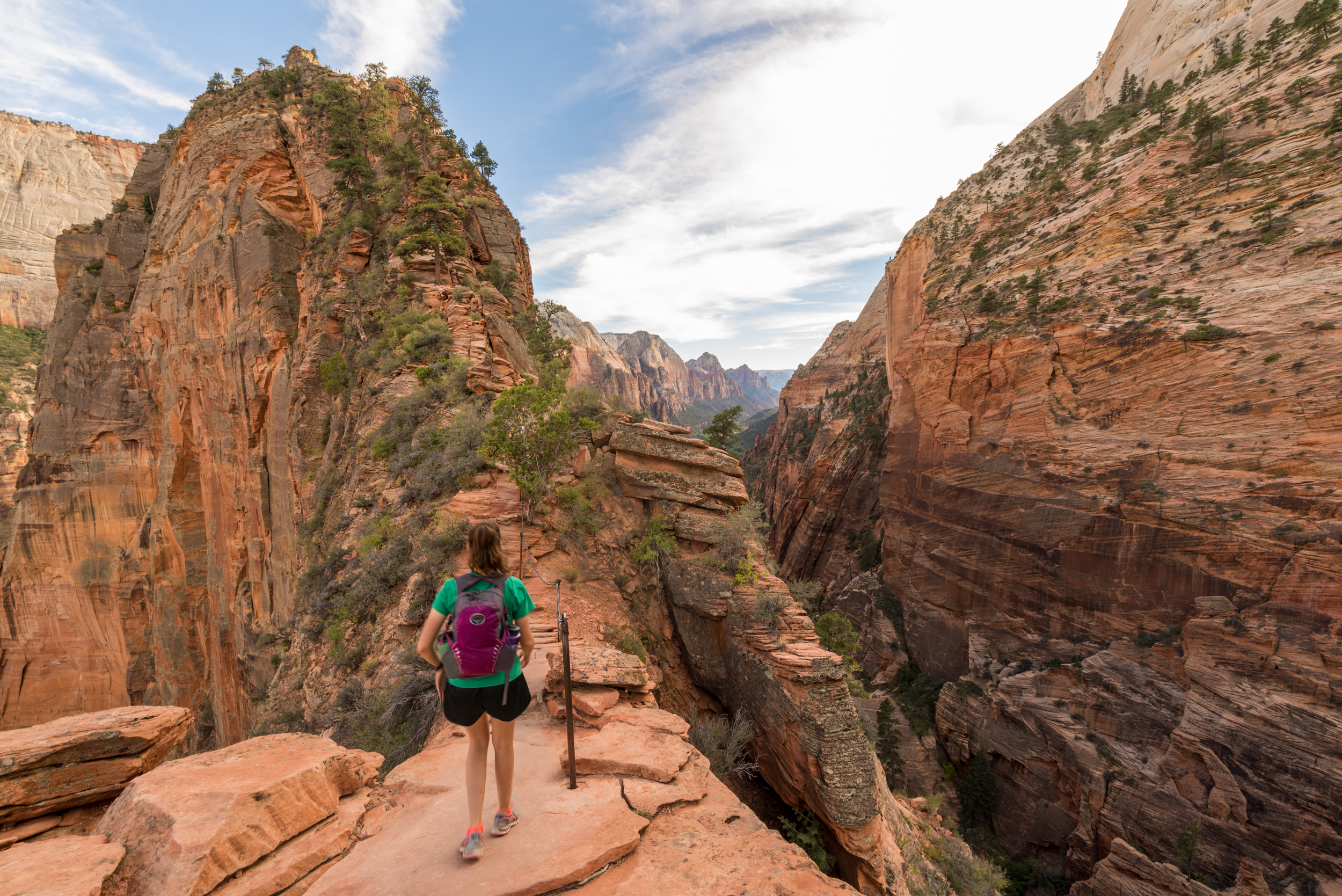 The top of Angels Landing is in sight as you hike across the narrow spine. A chain runs along this section to help you feel a little safer.