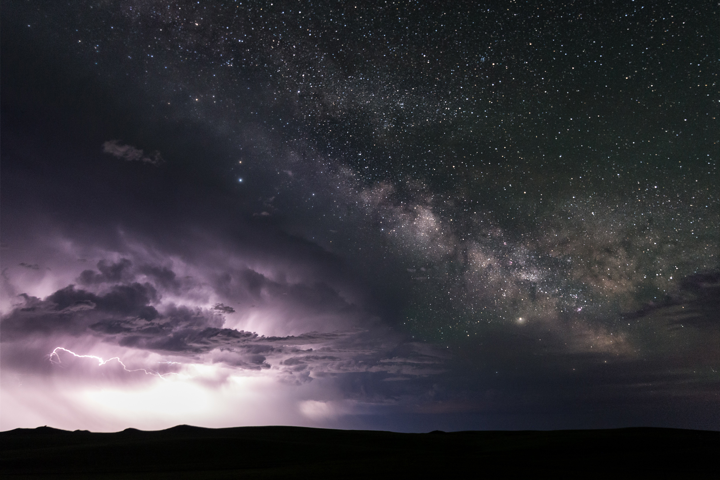 The Milky Was rises above a departing thunderstorm in Eastern Montana on June 4, 2018.