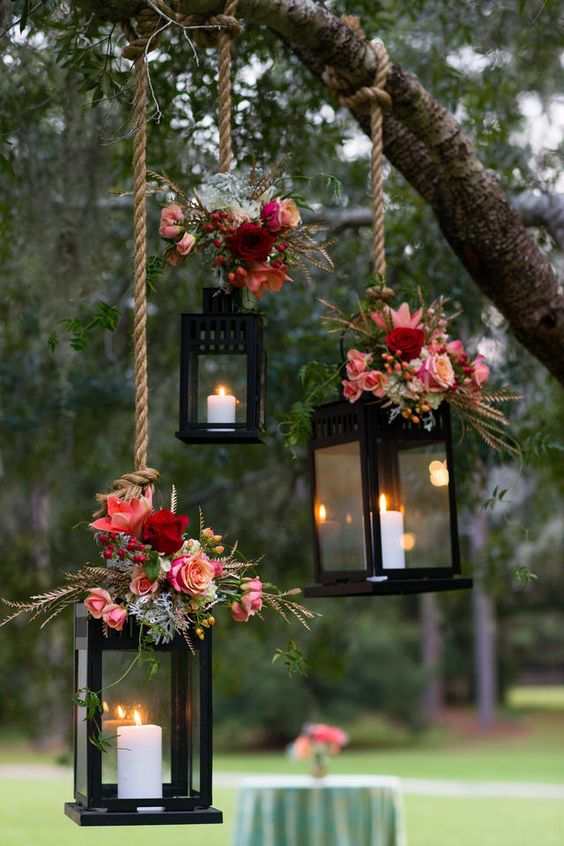 Rustic Weddings Hanging Lanterns Colorful.jpg