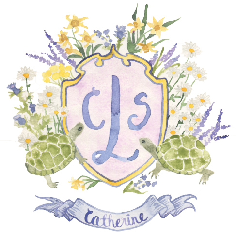 daisy, lavender, wildflower crest with pet turtle