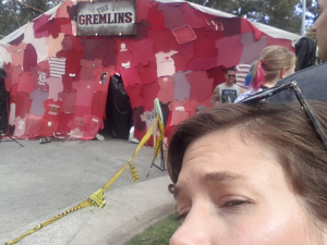 Outside of the Gremlins' tent!