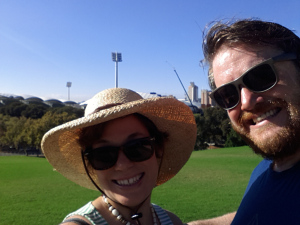 My Fringe sidekick, Will and I outside Adelaide's Oval.