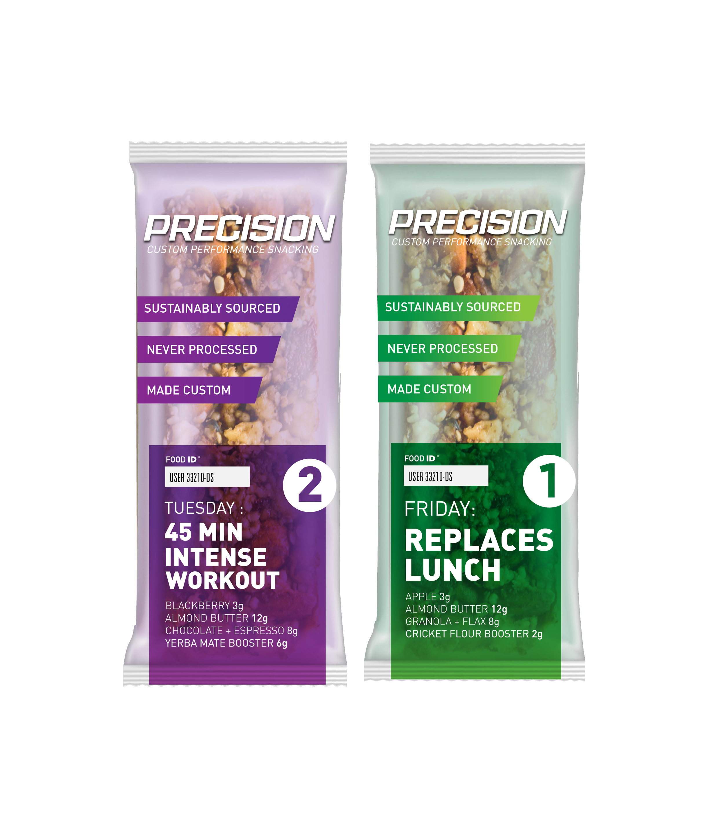 Precision Bar    Precision Bar is packed with all-natural energy, targeted to your performance goals -- no one else's. Made with whole food ingredients, our bars hit you with exactly what you need in a convenient on-the-go package.