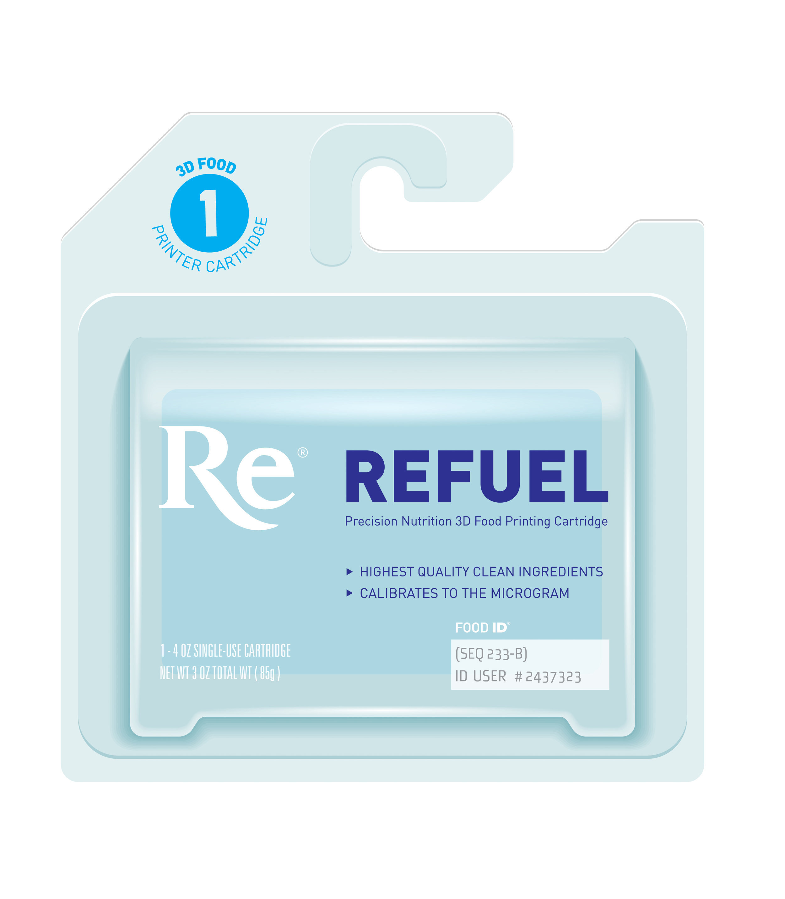 Refuel    When it comes to printing food at home, you're in control, and with Refuel, you'll never have to compromise again. Refuel cartridges work in tandem with your 3D printer and Food ID profile to bring you precise consumables that meet your dietary needs.