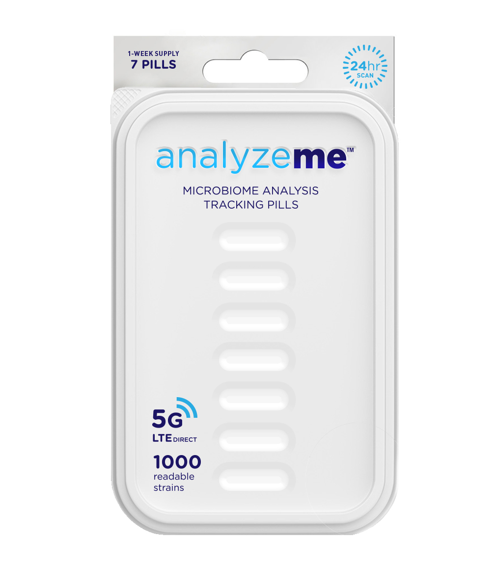 AnalyzeMe    Knowledge is power and now with AnalyzeMe, you have full reign. With this small pill, you can can accurately measure what's going on inside your microbiome, the control center of your overall health.