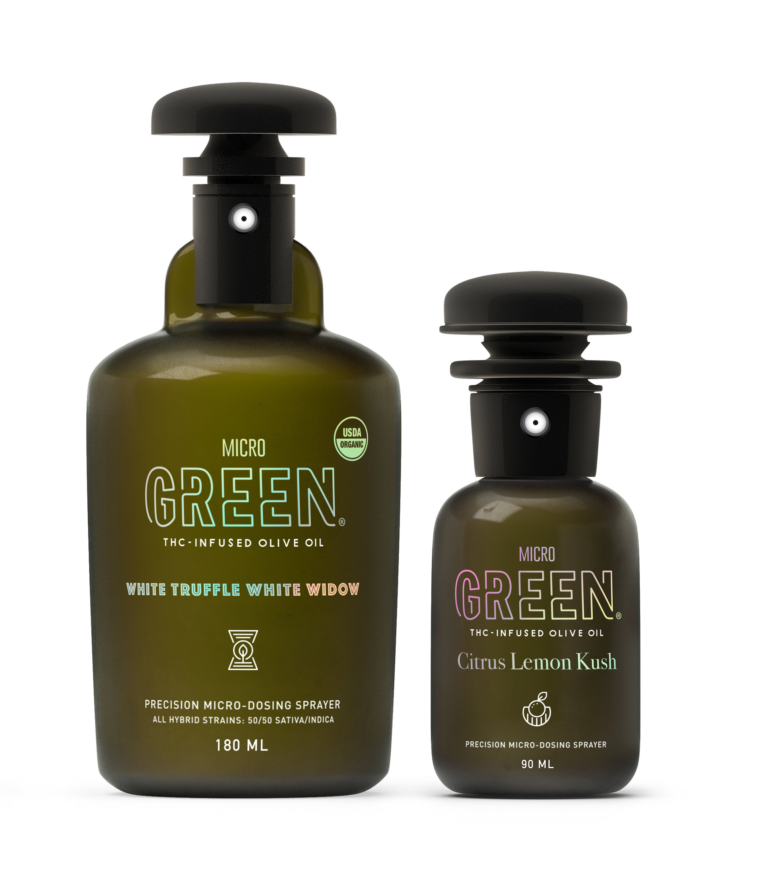 Micro Green    Micro Green brings recreational Marijuana to the dining table in an elegant, refined way. Each bottle of Micro Green THC infused olive oil spray is designed to deliver a precise dose of relaxation to whatever food you wish.