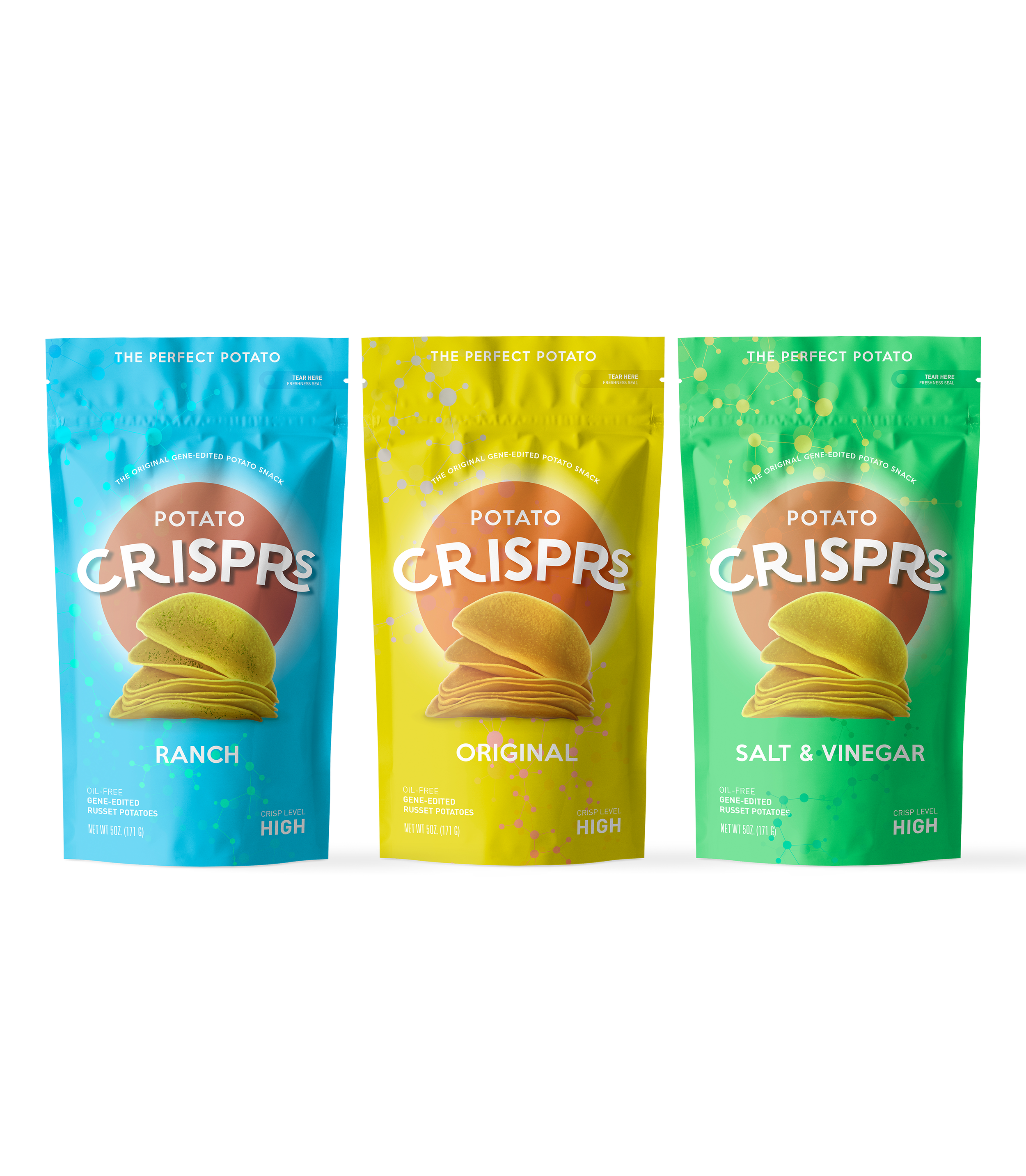 Potato CRISPRs    Potato Crisprs are made from the Perfect Potato, gene edited with Crispr technology to give you everything you ever wanted in a salty snack, without any of the stuff you don't.