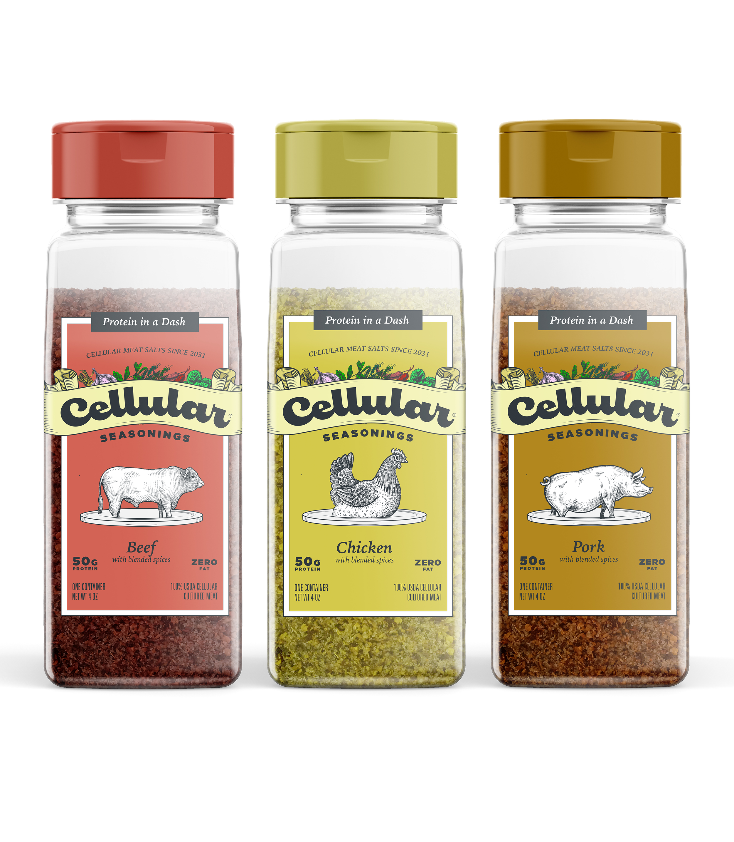 Cellular Seasonings    Cellular Seasonings Meat Salts are a delicious, convenient way to add a dash of real meat and seasoning to any dish. Our meat salts come in three flavors: chicken, beef, and pork, which are all made from 100% USDA Cellular cultured meat, NOT artificial meat flavoring.