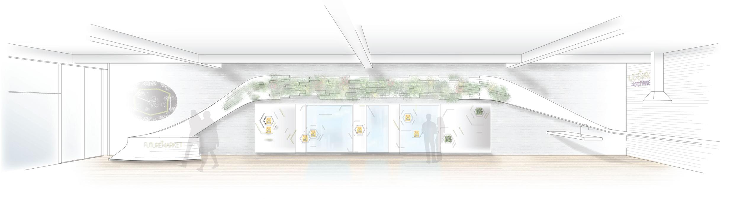 Future Market pop-up store concept rendering.