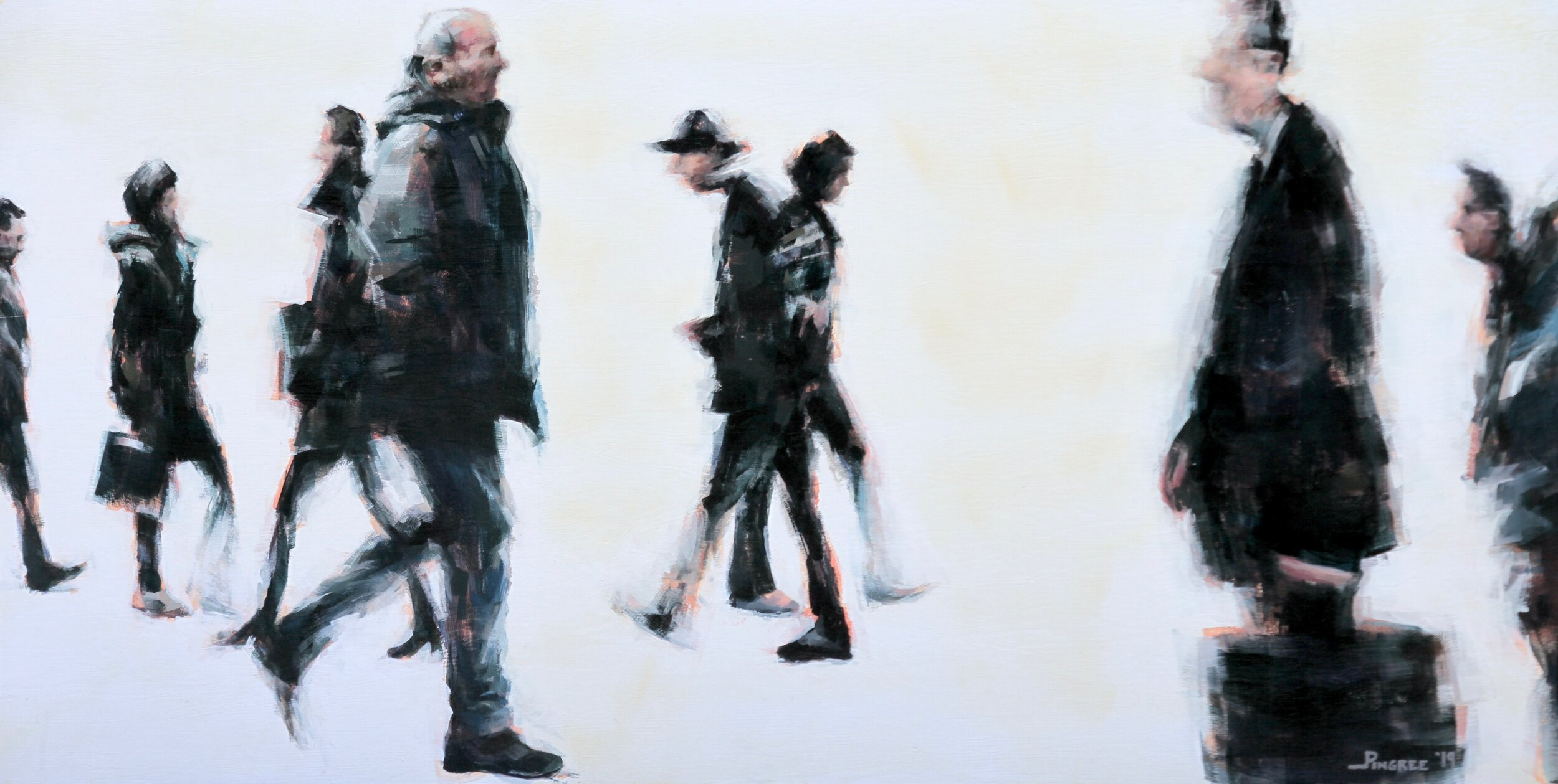 """Nine Commuters - by Jay Pingree, Maplewood[acrylic paint]The artist says: """"I work from my own long exposure photographs. I'm fascinated by the distortions and compressed, simplified forms that appear in these blurred images, almost as if painting with the camera. These photos inform my paintings; I use the abstracted images to encourage my own ever-evolving freedom with the paint.""""Jay Pingree was born and raised in Michigan, studied at UNC Asheville, spent ten years in New York, and has been in Maplewood since 2010. He is currently represented by the Nordic Art Agency in Malmö, Sweden and The Soden Collection in Shewsbury, England. His upcoming solo show with the Nordic Art Agency will be in April of 2020.pingreeart@hotmail.com; Instagram @pingreeart"""