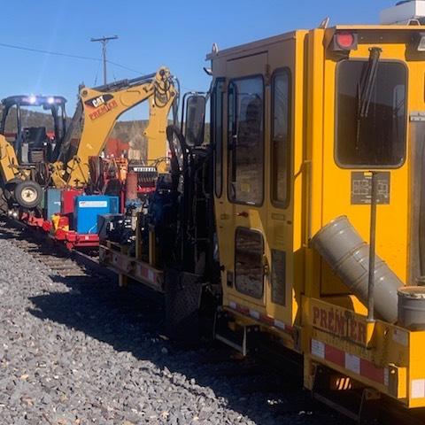 #railroad #railroadtracks #work #backhoe #rail #tiegang #nordco #dymax #dymax #railworks #railcontractor #cat450 #premierrailservices
