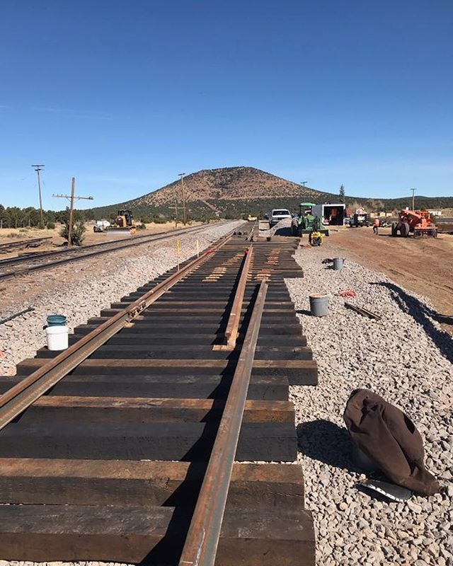 Project from the Grand Canyon Railway in Williams, Arizona. #Railroad #RailroadConstruction #GrandCanyonRailway #raillifter #Spiker #PremierRailServices