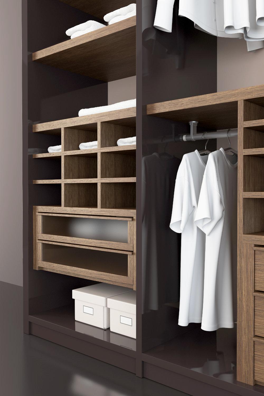 Fabricacion y Diseño de Closets Modernos Color Chocolate y Madera para Ropa