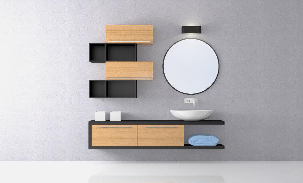 Baño de Diseño Moderno Madera y Color Negro con Espejo Redondo y Tarja de Porcelana