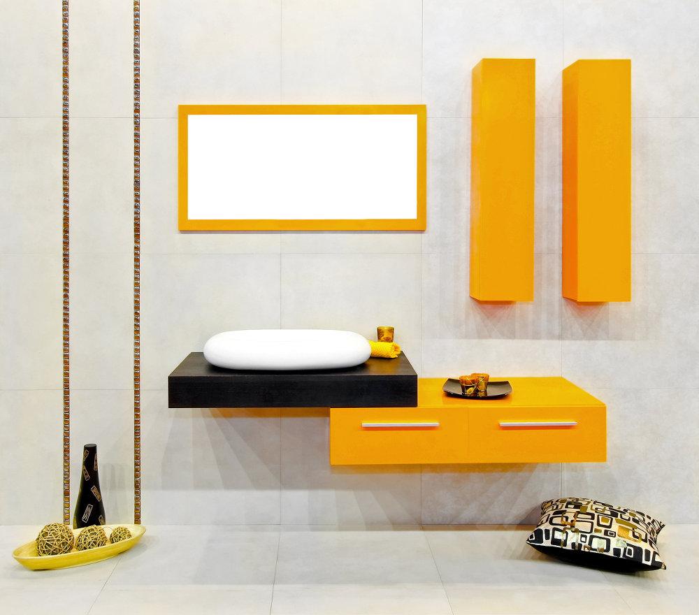 Baños Modernos y Pequeños Color Amarillo Fotos con Ideas de Decoración