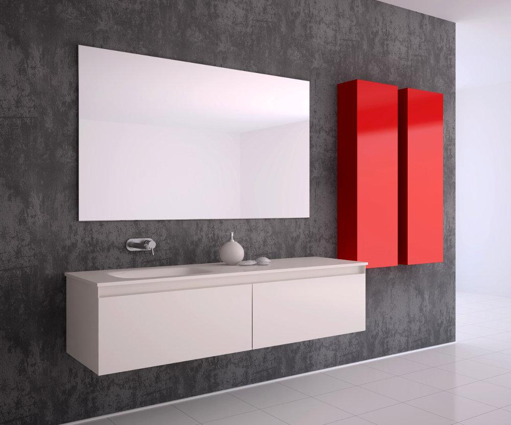 Diseño de Baño Rojo y Blanco Minimalista y Moderno con Lavamanos
