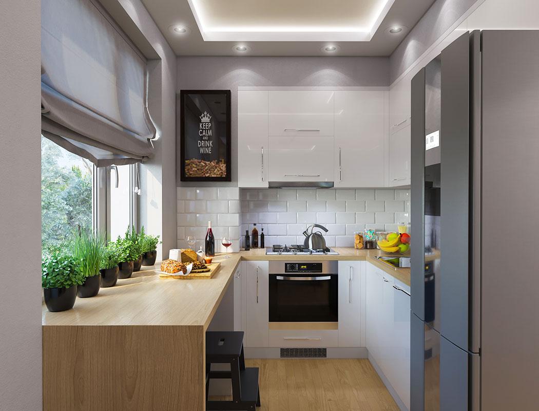 Cocina Integral Pequeña y Moderna con Barra de Melamina. Kitchen Depot