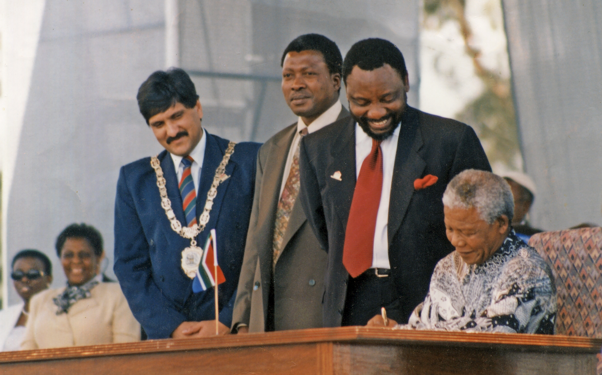 10 December 1996, South Africa's first democratic Constitution is signed into law by President Nelson Mandela at Sharpeville, Vereeniging.