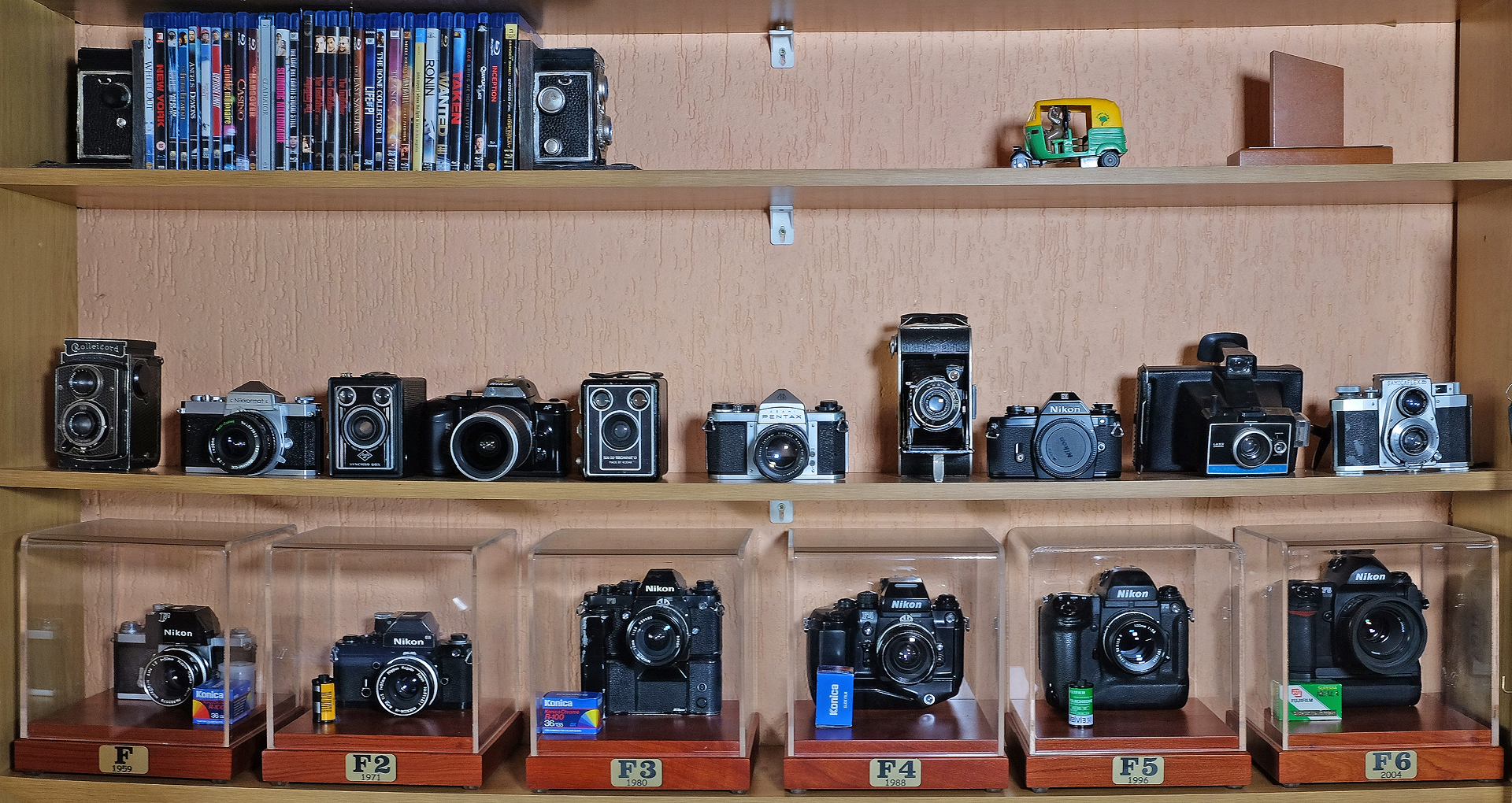 My vintage camera collection including among others, all my Nikon F's and my Dads Rolleicord Art Deco (circa 1935) and Samocaflex 35 (1950's)