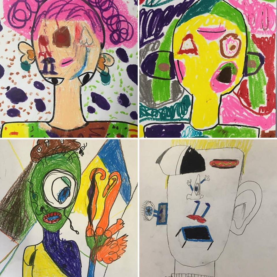 Student art from a 'Surrealist Self Portrait' Primary school OSHC workshop, 2017.