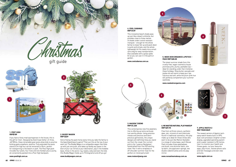 Our Lazarus neckpiece in Zaraffa's Grind Magazine Christmas wish list, December 2016.