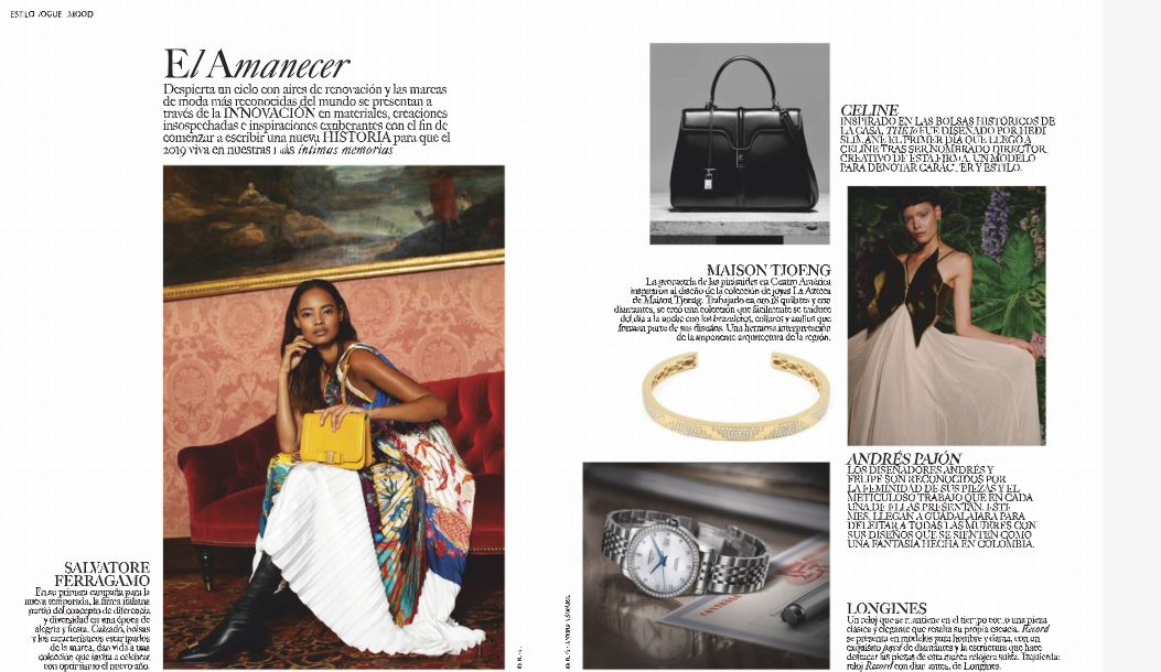 La Azteca Bangle in Vogue Latin America November 2018, article on innovative brands for 2019
