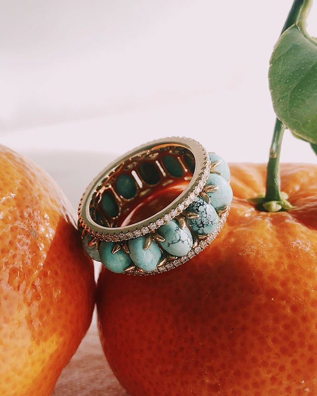 """Summer afternoon—summer afternoon; to me those have always been the two most beautiful words in the English language."" -Henry James Our Pacific Moons ring featuring cool natural turquoise and white diamonds set in 18k gold ✨"