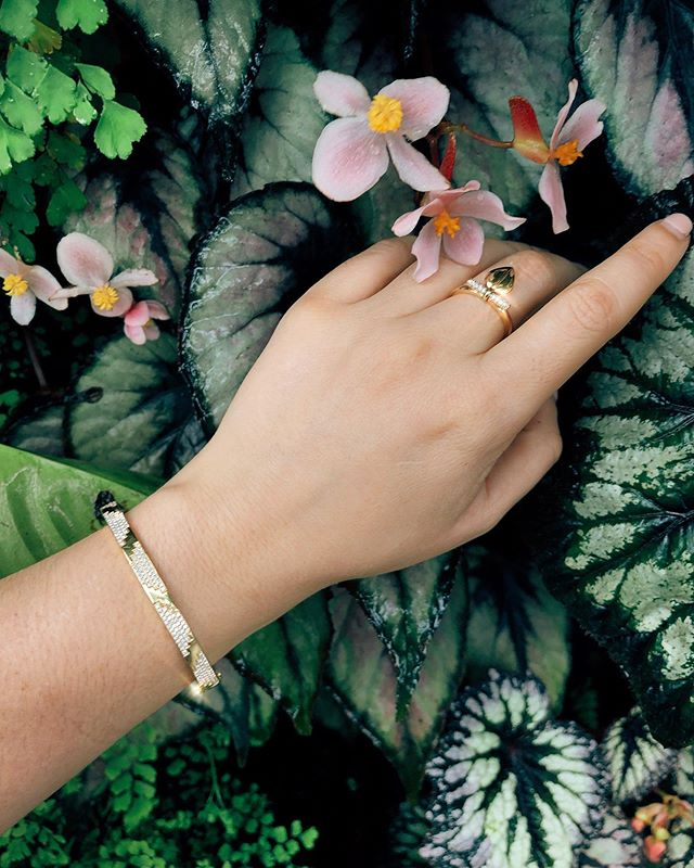 """A garden to walk in and immensity to dream in--what more could he ask? A few flowers at his feet and above him the stars.""- Victor Hugo. Pictured here are the Lazarus small ring and La Azteca bangle, both handcrafted from 18k gold and set with natural white diamonds."