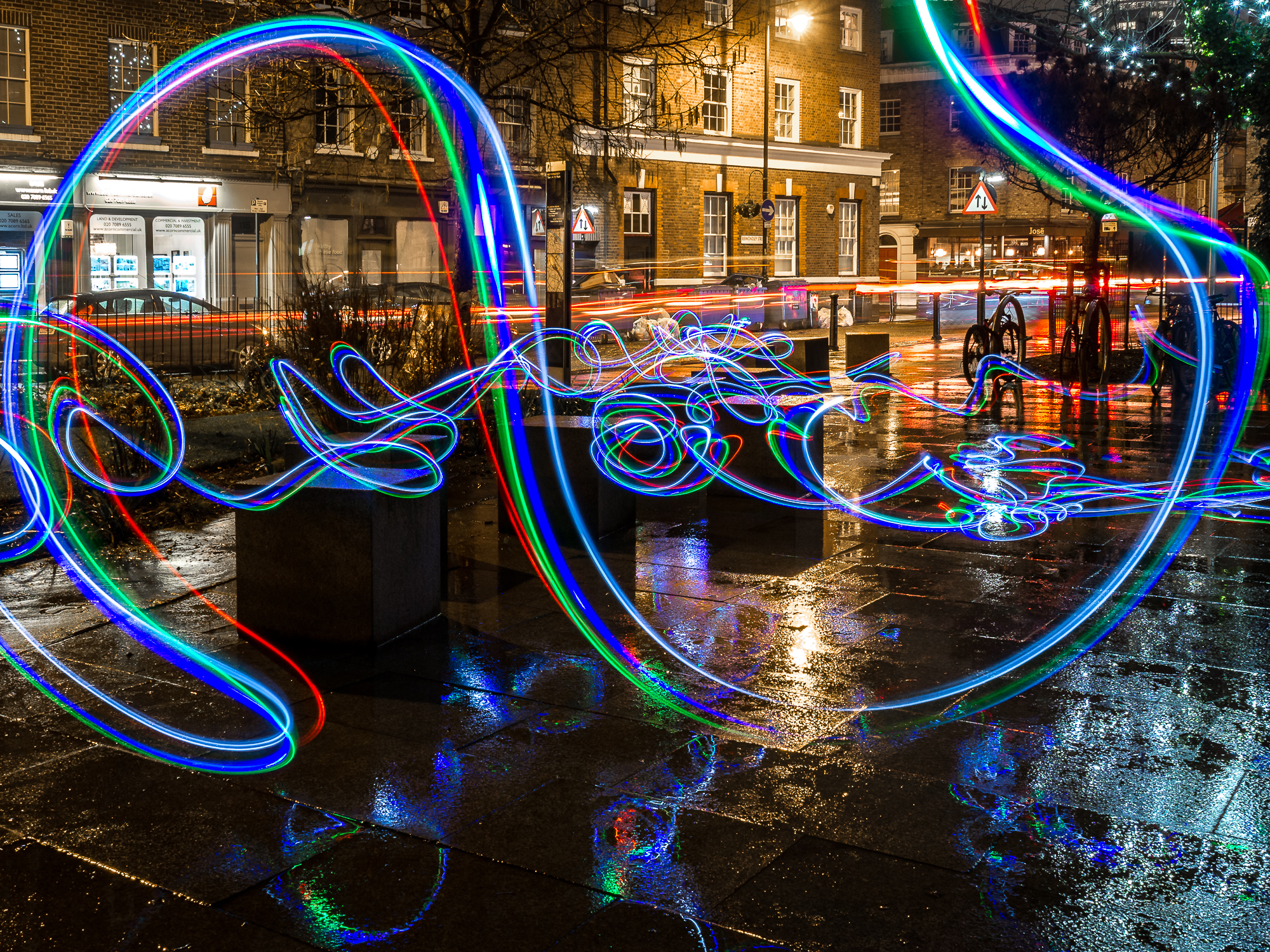 Light trails with LEDs. Multiple exposure live composite: Olympus E-M1mkII, multiple 4 sec exposures at f/8 and ISO200