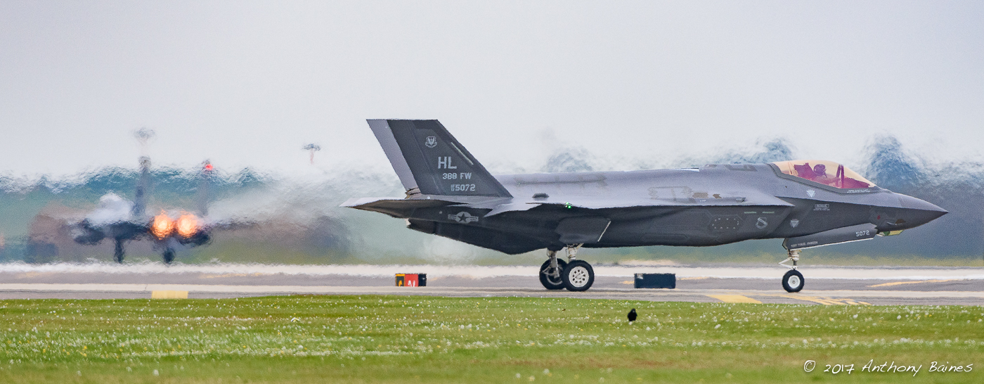 An F35A waits for an F-15C to clear, Lakenheath, April 2017