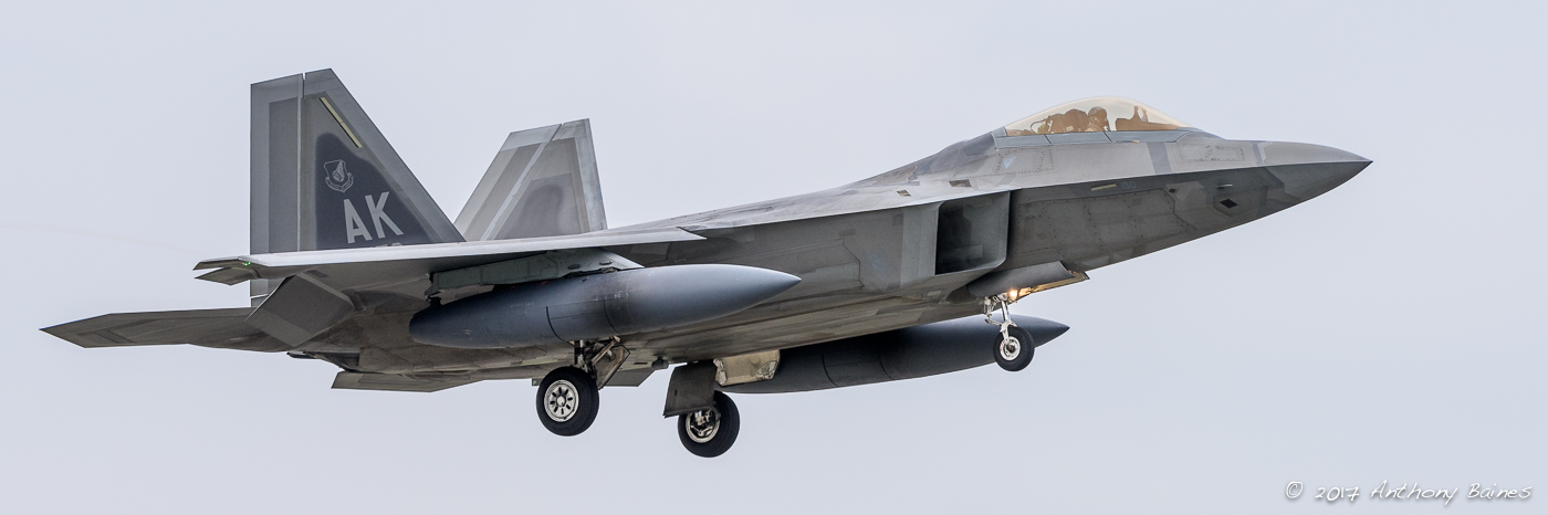 An F-22 sweeps into Mildenhall