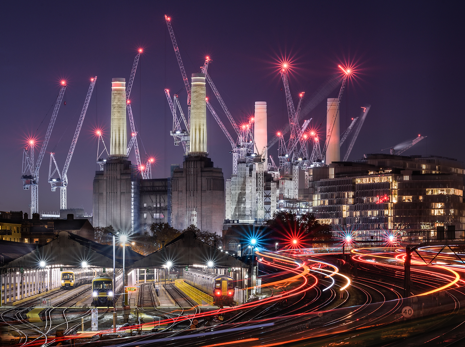 A crown of cranes for Battersea Power Station, as it is being renovated and repurposed