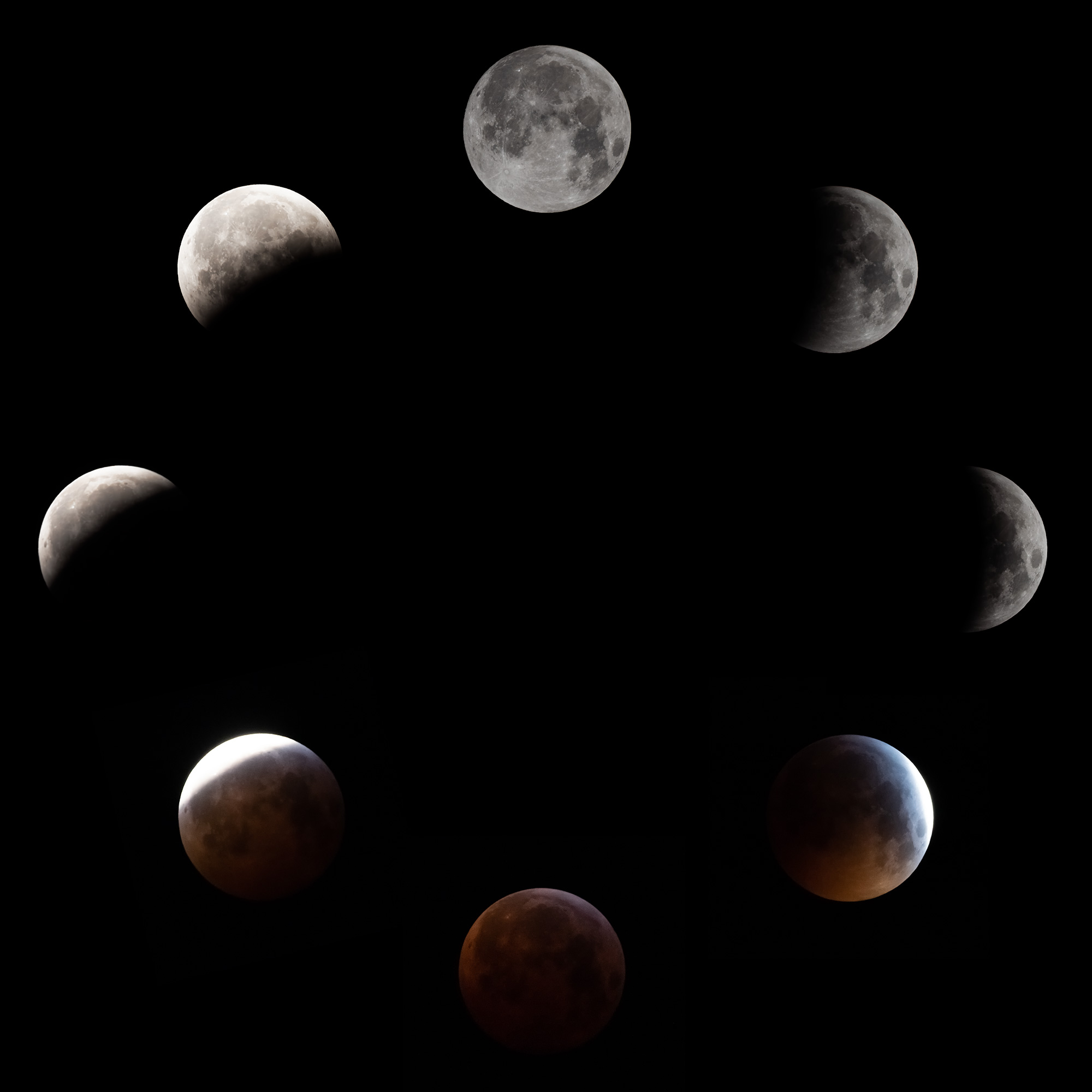 Phases of the eclipse of 2019-01-21, chronologically clockwise