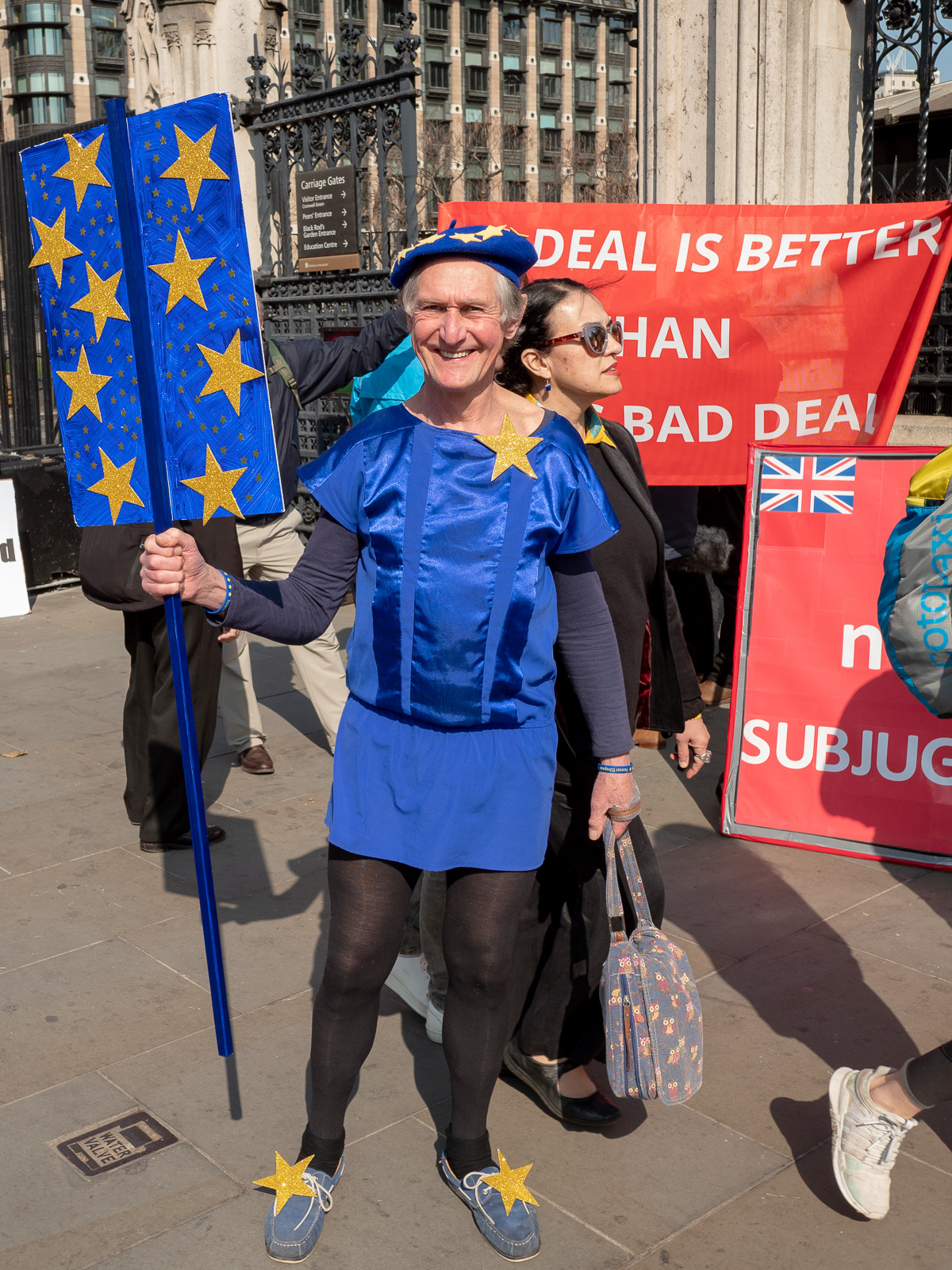 "A protestor dressed as ""The spirit of Europe"""
