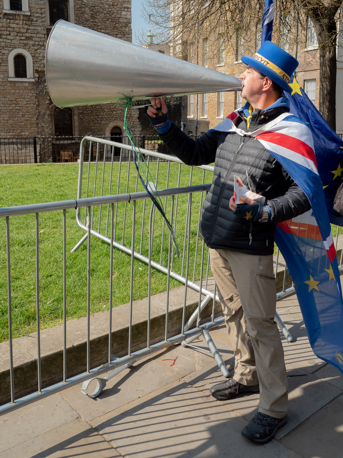 "Steve ""Stop Brexit"" Bray      with megaphone (and lunch)"
