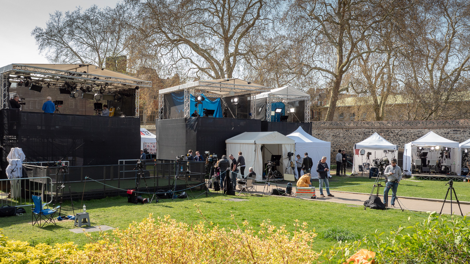 Press and TV gazebos on College Green