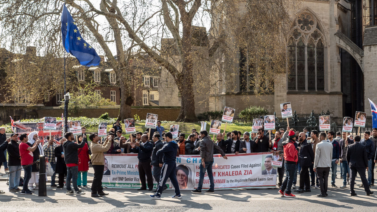 Brexit is not the only game in town. Between Parliament Square and College Green, a group protests events in Bangladesh.