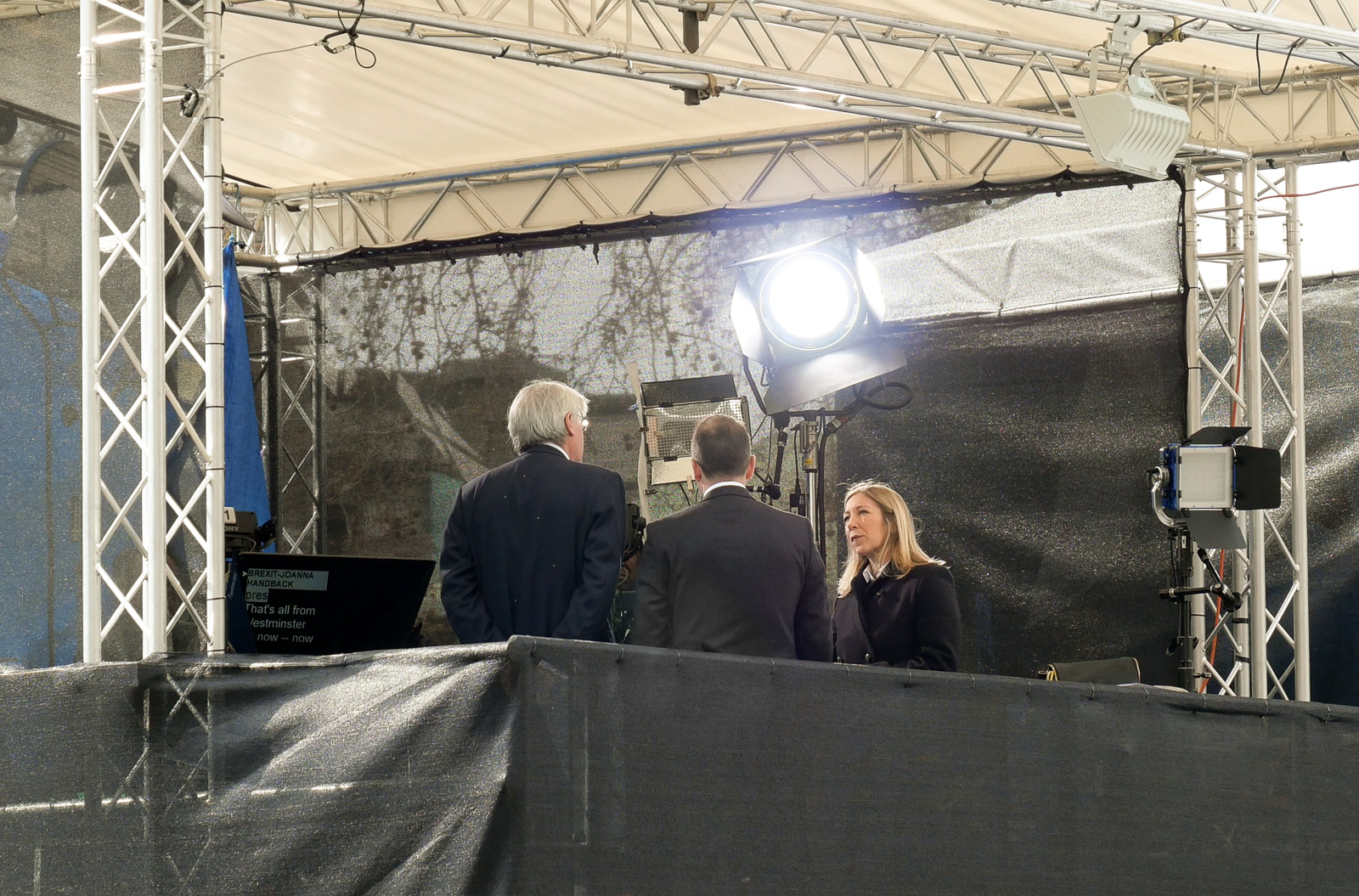 I think that is the TV news presenter      Joanna Gosling      at work in the BBC's gazebo