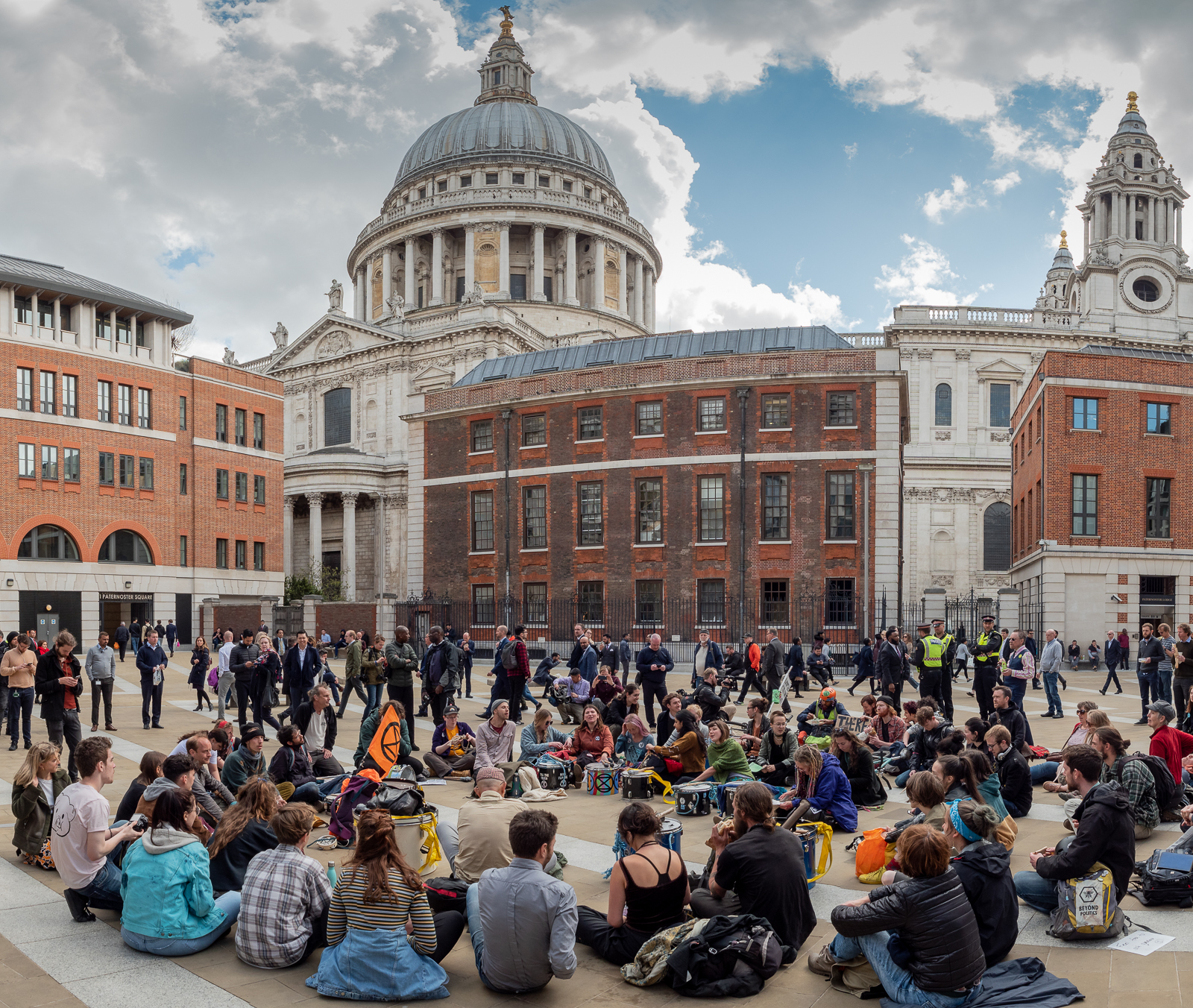 Taking a break in Paternoster Sq. Panorama of 5 overlapping pictures, stitched in Lightroom CC.