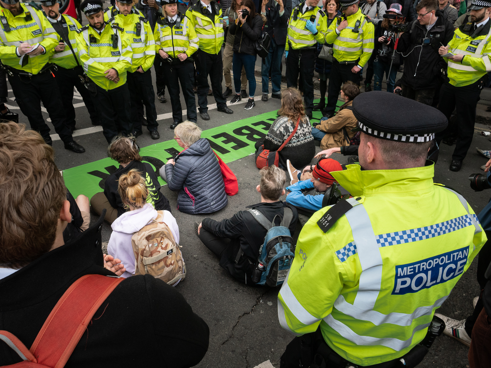 Sit-down protest near the Bank